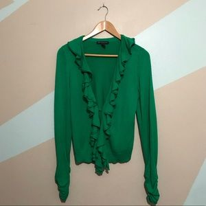 INC Kelly Green Ruffle Cardigan Size Large